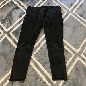 Black distressed ralph lauren skinny jeans